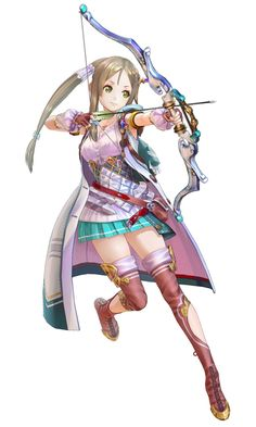 View an image titled 'Firis Render' in our Atelier Lydie & Suelle: The Alchemists and the Mysterious Paintings art gallery featuring official character designs, concept art, and promo pictures. Archery Poses, Archery Girl, Female Character Design, Character Concept, Character Art, Fantasy Characters, Female Characters, Anime Characters, Anime Warrior Girl