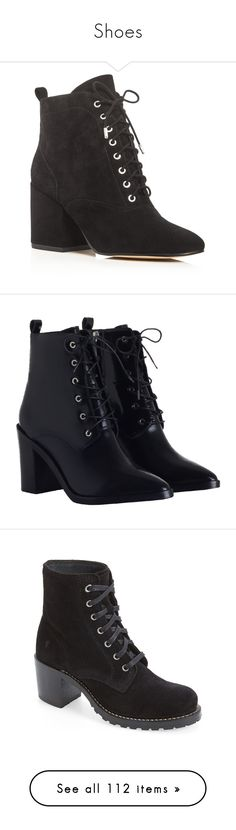 """""""Shoes"""" by slytherin-queen88 ❤ liked on Polyvore featuring shoes, boots, ankle booties, botas, black, black lace up ankle booties, black laced booties, black booties, black block heel boots and sam edelman boots"""