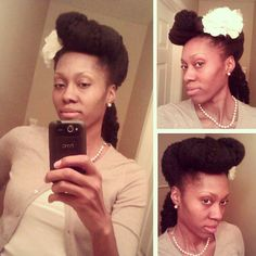 My vintage inspired updo on natural hair. #naturalhair #updo #vintage