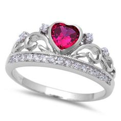 Crown Promise Ring, Promise Rings, Art Nouveau, Silver Labs, Celtic Wedding Rings, Pink Topaz, Blue Sapphire, Blue Opal, Size 10 Rings