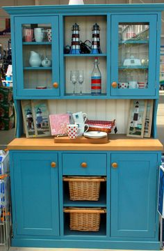 Love this blue dresser! Available to buy at Bandon Co Op Kinsale, ask in store for details Home And Garden Store, Blue Dresser, Garden Painting, Household, Kitchen Cabinets, Building, Diy, Home Decor, Kitchen Cupboards