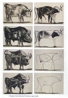 This is another piece by Picasso which reminded me of cave art like the buffalo's they paint just from memory. Picasso bull reduced from representation to geometry to the simplest of lines. Pablo Picasso, Toro Picasso, Kunst Picasso, Picasso Drawing, Picasso Art, Painting & Drawing, Picasso Sketches, Picasso Paintings, Art And Illustration