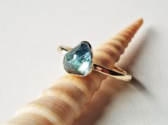 indicolite blue tourmaline engagement ring OOAK by TheSpiralRiver
