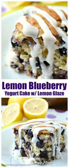 Lemon Blueberry Yogurt Cake with Lemon Glaze is dense like a pound cake and so delicious and full of blueberries!
