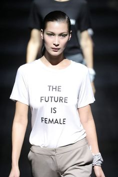 Bella Hadid - The model leads the statement-making finale walk at Prabal Gurung's Fall 2017 show, donning feminist slogan tees.