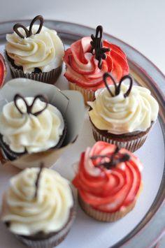 vanilla cupcake with chocolate heart transfers