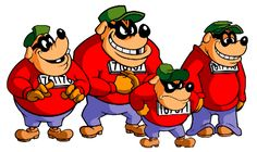 The Beagle Boys from Ducktales Disney Pixar, Walt Disney, Disney Characters, Fictional Characters, Super Mario, Japanese Colors, Kuniyoshi, Mickey Mouse And Friends, Beagle