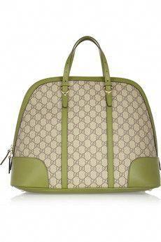 245f351eccdd Gucci sage-green leather trimmed canvas tote  Guccihandbags Gucci Purses