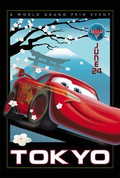 Pixar Cars 2: Lightning McQueen in Tokyo by Eric Tan