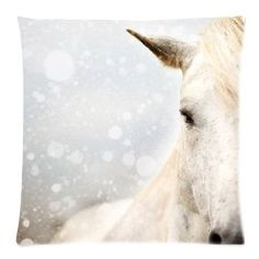 This horse pillow is so pretty. I can see it in a teen girl's room. It has a lot of soft colors in it- gray and cream, but it's still a statement piece. I like this idea a lot more than buying a cheap looking horse comforter.