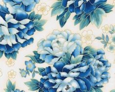 Indigo Imperial Blossoms Cotton Print Fabric with by JAQSFabrics