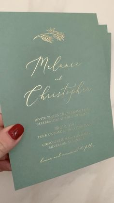 These green wedding invitations with gold foil stamping are perfect for a minimalist boho wedding. Order a sample now!