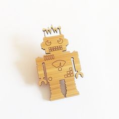 Robot Brooch  Bamboo Brooch   Christmas Gift  by OwlandOtter, $12.00