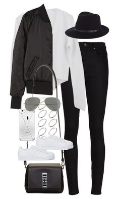 """Inspired outfit with a bomber jacket"" by pagesbyhayley ❤ liked on Polyvore featuring Yves Saint Laurent, H&M, ASOS, rag & bone, Proenza Schouler, adidas Originals and Ray-Ban"