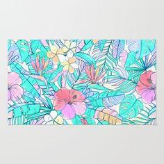 Pretty Pastel Hawaiian Hibiscus Print Area & Throw Rug