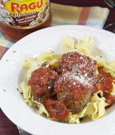 Delicious Egg Noodles with Mushroom Meatballs, made even better with Ragu's Super Chunky Mushroom Sauce. This is an easy recipe to make for dinner tonight. Tastes like home! #simmeredintradition