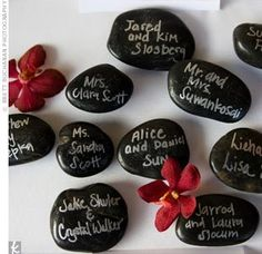 Rocks as place cards.