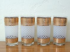 Vintage Gold Glass Tumblers Cocktail Glasses Set of 4 Washington