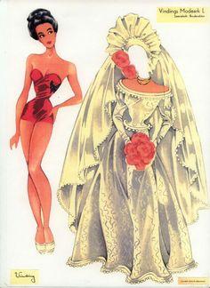 """Paper Doll Model """"L"""" (9 of 9) / Gerda Vinding, Danish artist, 1921-1987"""
