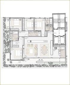 Planta de 233m² do Panorama Douro Residence, em Porto - Portugal 4 quartos (2 suítes, uma com closet), ampla área para salas de jantar,…