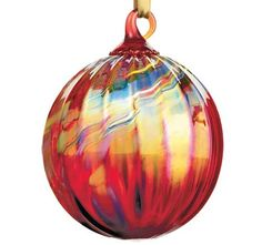 Hand Blown Holiday Red Glass Ornament. Glass Eye Studio.