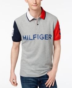 Tommy Hilfiger Men's Colorblocked Performance Polo - Sport Grey S Polo Rugby Shirt, Polo T Shirts, Ralph Lauren Style, Polo Ralph Lauren, Tommy Hilfiger Outfit, Mens Tees, Menswear, Mens Fashion, Sweat Shirt