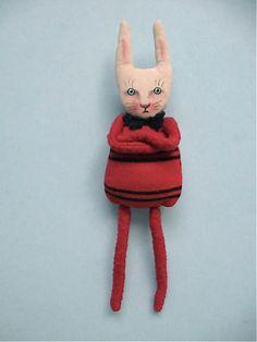 art doll rabbit  white rabbit cute wall art bunny by sandymastroni, $38.00