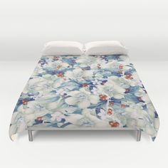 flowers and red berries Duvet Cover