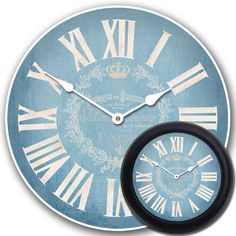 This charming light blue wall clock on a blue surface with white accents works well as a living room clock, office clock, or bedroom clock. The soft hues are pleasing to the eyes and works well with most types of décor. Comes in many sizes, as well. Frames can be added to your liking.