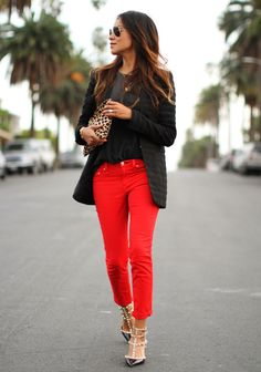 LOVE this look...black sweater, black coat, red pants, tiger clutch and sparkly shoes