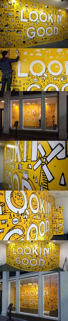 ideas wall graphics office design typography for 2019 Mural Art, Wall Murals, Wall Art, Environmental Graphics, Environmental Design, Game Design, Design Art, Design Ideas, Office Wall Graphics