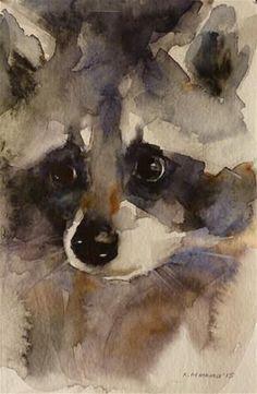Daily Paintworks - - Original Fine Art for Sale - © Katya Minkina art,art drawings,art deco,artichoke recipes,art studio Watercolor Animals, Watercolor Paintings, Watercolors, Animal Paintings, Animal Drawings, Horse Drawings, Art Drawings, Raccoon Art, Canvas Art For Sale