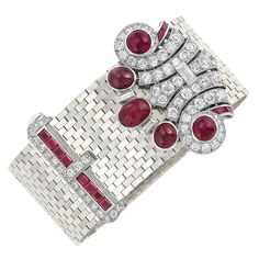 White Gold, Platinum, Ruby and Diamond Slide Buckle Bracelet with Detachable Cabochon Ruby and Diamond Clip belonging to Consuelo Vanderbilt Smith Warburton Earl