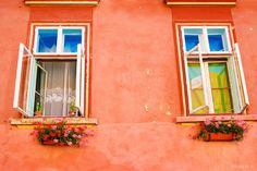 windows in romania - / FICTILIS Halstead, makes me think of the meeting house and all of the little kids listening to us sing outside the windows! All About Water, Balcony Window, Orange House, Bucharest Romania, Just Peachy, House Built, Color Effect, Victorian Homes, Beautiful Homes
