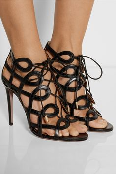 Cutout black leather lace-up #sandals by Olivia Palermo for Aquazzura.