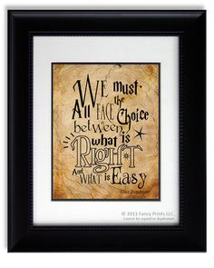 We Must All Face The Choice.. Harry Potter movie quote print Albus Dumbledore Kids Room print wall decor Christmas Gift Inspirational Poster on Etsy, $15.00