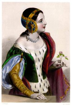 Isabelle, Daughter of France & Infante of Navarre (1295-1358). She was the daughter of King Philippe IV of France and his wife, Queen Jeanne I of Navarre. She was Queen of England (1308-1327) as the wife of King Edward II. Her children were King Edward III of England, The Prince John, 1st Earl of Cornwall, and The Princesses Eleanor and Joan. [19th century portrait]