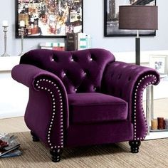 Furniture of America Dessie Traditional Tufted Arm Chair - 18454323 - Overstock.com Shopping - Great Deals on Furniture of America Living Room Chairs