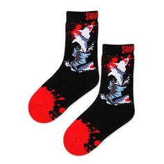 K.Bell Sharknado 3 Grey Black Red Sharks 4-pair womans no show Socks New