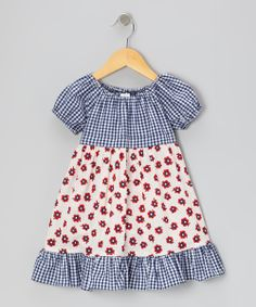 Red & Navy Tiny Daisies Patty-Cake Dress - Toddler & Girls | Daily deals for moms, babies and kids