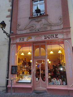 Café Au Croissant Doré \\ Colmar. France Bar, France Art, Art Nouveau Architecture, Kawaii Shop, Shop Fronts, Art Nouveau Jewelry, Store Displays, Shop Plans, Cafes