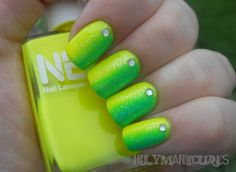 "I like! Not to crazy and a twist on the gradient (which i still can't do) :) - ""Holy Manicures: Lime Sideways Gradient"""