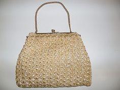 Vintage Basttasche Kettenhenkel Tasche Handtasche Häkeltasche TOP