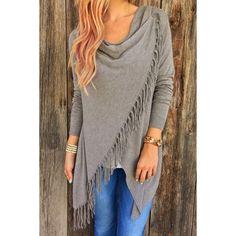 Charming Solid Color Tassel Hem Asymmetric Loose T-Shirt For Women (GRAY,XL) in Long Sleeves | DressLily.com
