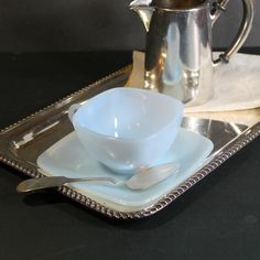 Vintage Azur-ite Blue Charm Cup and Saucer by Anchor Hocking