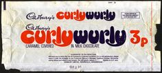 UK - Cadbury's CurlyWurly -Curly Wurly- chocolate candy bar wrapper - by JasonLiebig, via Old Sweets, Vintage Sweets, Retro Sweets, Vintage Candy, Vintage Food, Vintage Stuff, 1970s Childhood, My Childhood Memories, Sweet Memories