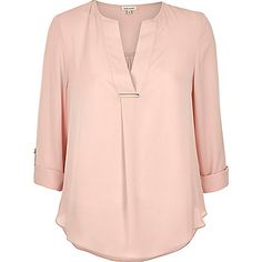 light pink gold trim blouse by River Island. Lightweight fabric Gold trim Relaxed fit V-neck Turn-up sleeves Our model wears a UK 8 and is tall Cute Shirt Designs, Formal Tops, Mode Plus, Embroidery Suits, Fall Fashion 2016, Casual Work Outfits, Short Tops, Blouse Styles, Fashion Pants