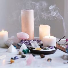 Candles, incense, crystal pyramids