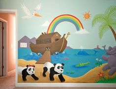 Noahs Ark Baby Nursery Wall Mural: Our goal for our baby girl's nursery was to incorporate animals, a beach and jungle vibe, yet keep it gender neutral in case we have a baby boy next time