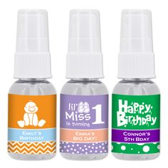 Create the perfect, personalized favor with our Birthday Hand Sanitizer! They make a great addition to a picnic in the park or a gathering at a theme park or zoo. Proudly made in the USA! Elegant apothecary style bottle with spray top. Contains 75% isopropyl alcohol (higher than the CDC's recommendations). Made in accordance with FDA Guidelines for consumer and healthcare personnel use. Enriched with moisturizers. No fragrance added. Personalized Favors, Birthday Party Favors, Hand Sanitizer, Icon Design, Picnic In The Park, Moisturizers, Fragrance, Alcohol, Apothecary
